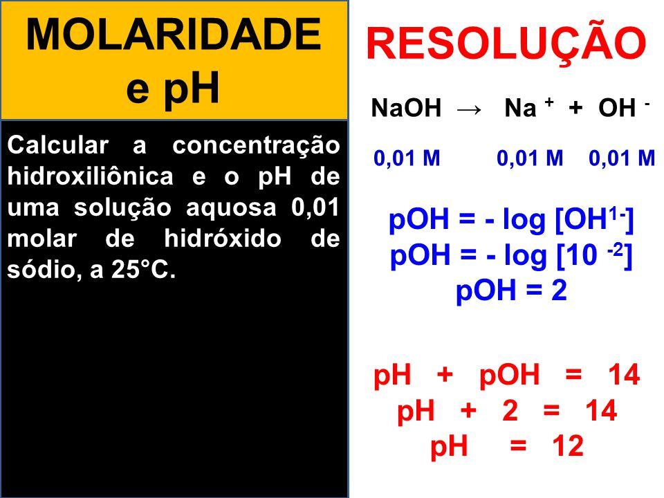MOLARIDADE e pH RESOLUÇÃO 0,01 M 0,01 M 0,01 M pOH = - log [OH1-]